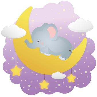 Un petit éléphant dort sur la lune