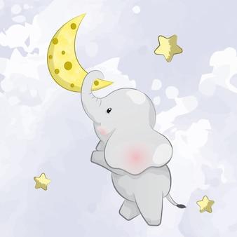 Petit éléphant sur la lune