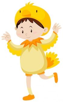 Petit enfant en costume de poulet