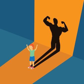 Petit enfant debout avec une forte ombre corporelle