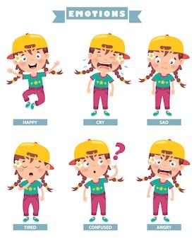 Petit enfant avec différentes émotions