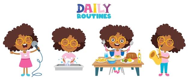 Petit enfant faisant des activités de routine quotidiennes
