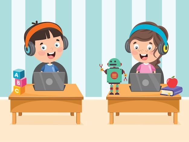 Petit enfant heureux utilisant la technologie