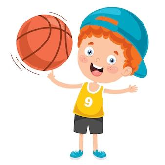 Petit enfant jouant au basketball