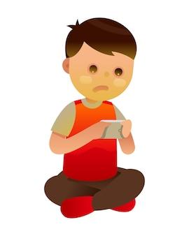 Petit enfant qui joue un jeu sur smartphone