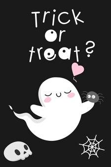 Petit esprit halloween fantôme kawaii mignon avec araignée monstre fantasmagorique effrayant et amusant