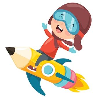 Petit étudiant volant avec un crayon