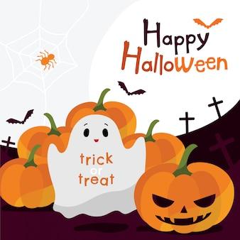 Petit fantôme et citrouilles pour halloween