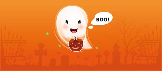 Un petit fantôme mignon avec une citrouille d'halloween