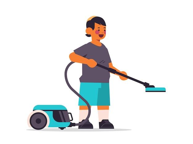 Petit garçon arabe à l'aide d'un aspirateur nettoyage concept d'enfance illustration vectorielle horizontale pleine longueur