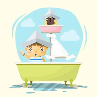 Petit garçon capitaine et ami