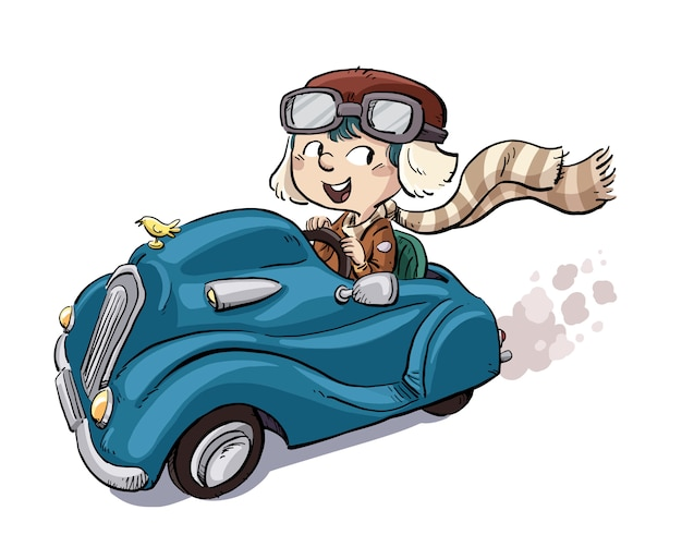 Petit garçon conduisant une voiture