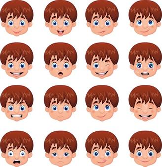 Petit garçon diverses expressions faciales
