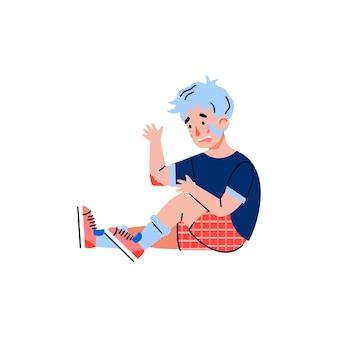 Petit garçon est tombé et s'est blessé illustration de dessin animé plat