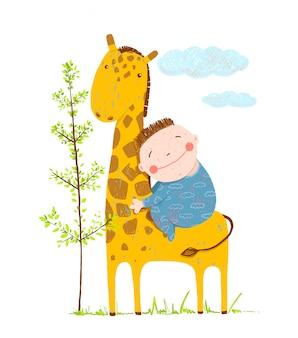 Petit garçon, étreindre, a, girafe