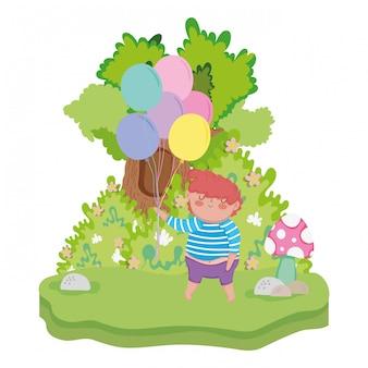 Petit garçon grassouillet avec des ballons à l'hélium dans le paysage