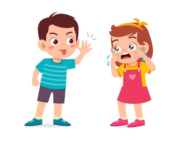 Petit Garçon Intimide La Petite Fille Jusqu'à Ce Qu'elle Pleure Vecteur Premium