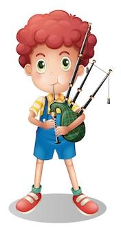 Petit garçon jouant de la cornemuse écossaise