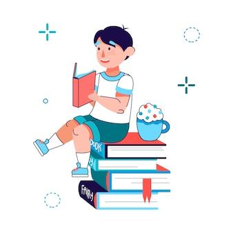 Petit garçon lisant un livre - dessin animé enfant assis sur une pile de livres