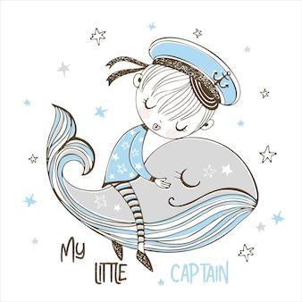 Un petit garçon marin dort doucement sur une baleine magique.