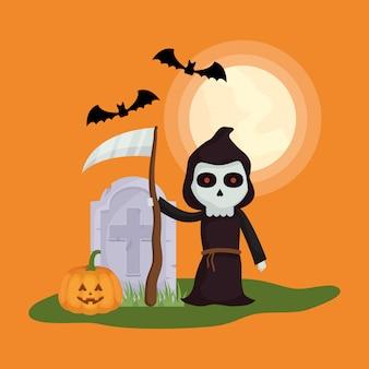 Petit garçon avec le personnage de déguisement de la mort