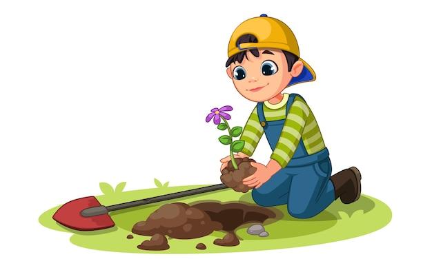 Petit garçon plantant une petite plante à fleurs dans l'illustration du jardin