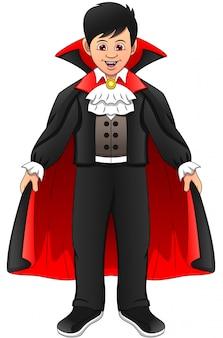 Petit garçon portant un costume de dracula
