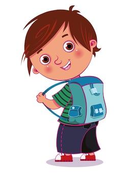 Petit garçon prêt à aller à l'école vector illustration