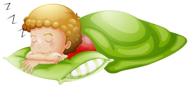 Un petit garçon profondément endormi