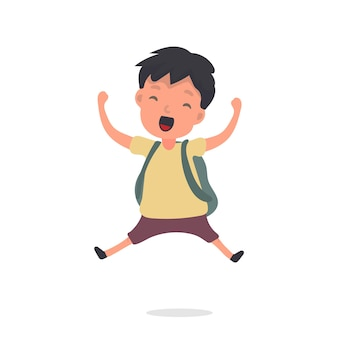 Le petit garçon saute. joyeux écolier sautant. convient pour la conception de l'école ou des vacances. isolé. vecteur.