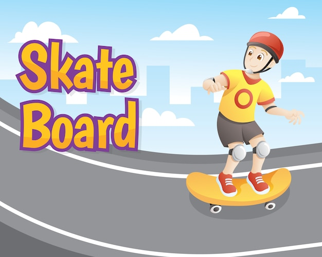 Petit garçon avec skateboard