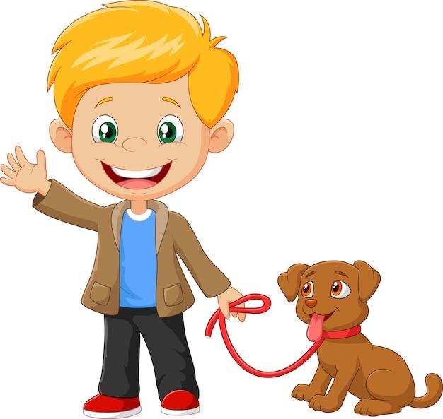 Petit garçon avec son chien isolé sur fond blanc