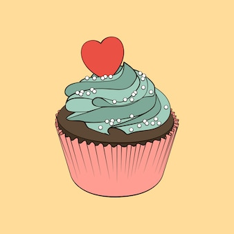 Petit gâteau au chocolat avec crème à la menthe et coeur