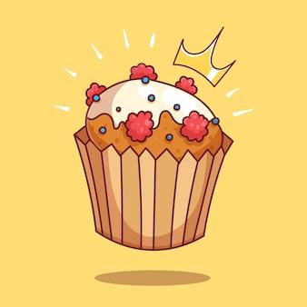Petit gâteau aux baies en illustration d'icône de vecteur de dessin animé de glaçage