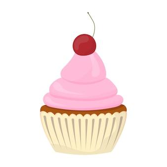 Petit gâteau de fête. bonbons à la crème, muffin, dessert festif, confiserie. style plat. vecteur.