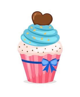 Petit gâteau sucré avec glaçage bleu et cœur en chocolat sur le dessus