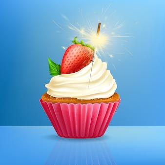 Petit gâteau de vacances avec sparkler tiré 3d