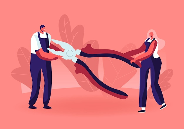 Petit homme et femme en uniforme de travailleurs tenant d'énormes pinces pour réparer les techniques cassées ou les travaux de réparation. illustration plate de dessin animé