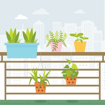 Le petit jardin avec vue sur la ville