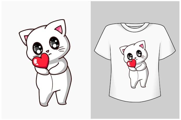 Petit joli chat avec illustration de dessin animé d'amour