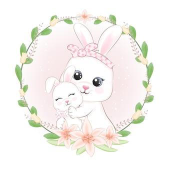Petit lapin avec cadre maman et fleurs