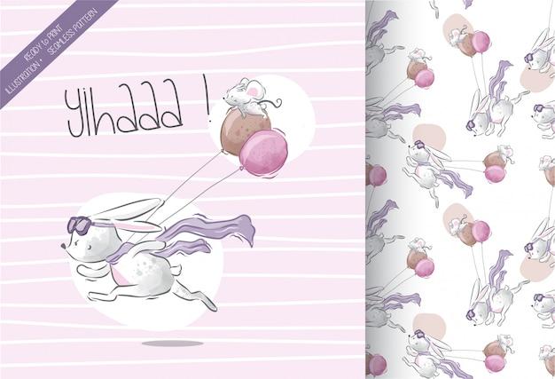 Petit lapin courir avec motif sans soudure de lapin