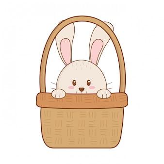 Petit lapin dans le panier personnage de pâques