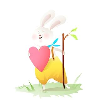 Petit lapin en dessin animé d'amour.