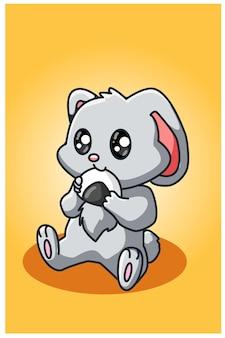 Petit lapin mangeant un dessin à la main de sushi