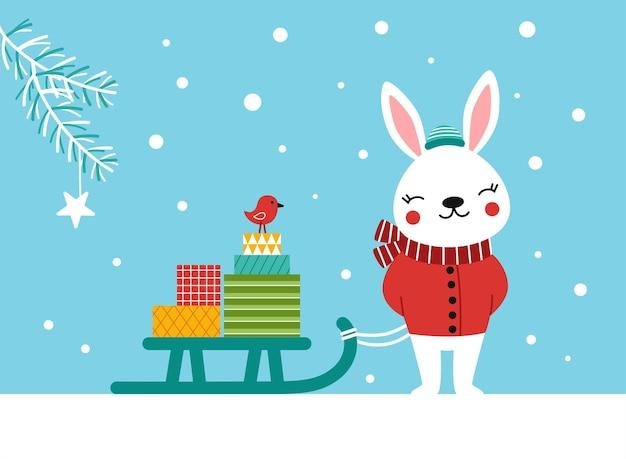 Petit lapin mignon et un traîneau plein de cadeaux