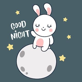 Petit lapin sur le style dessiné à la main de la lune