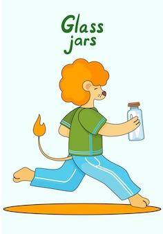 Petit lionceau de dessin animé court vite sur le tapis avec un bocal en verre fermé avec un couvercle en bois