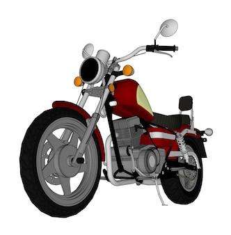 Petit look chopper classique rouge. illustration de couleur vectorielle avec des lignes de contour.