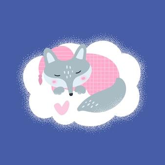 Petit loup renard dort sur le nuage